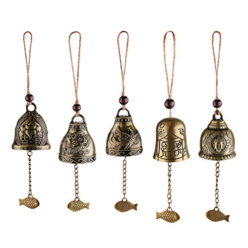 Sharplace 5pcs Chinesische Antike Klangspiele Windspiele, Garten Fengshui Glocke   Vintage Drache/Fisch/Phönix/Buddhastatue Windspiele für Glück