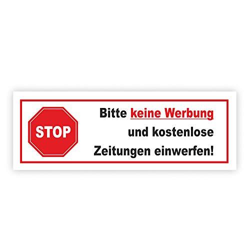 Aufkleber Stop Bitte keine Werbung und kostenlose Zeitung einwerfen! I 8,5 x 3 cm I Gegen Reklame im Briefkasten I wetterfest I hin_083
