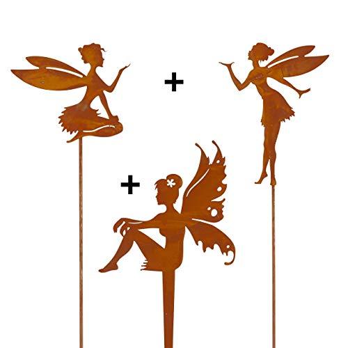 CIM Edelrost Pflanzenstecker – Set – Feen Trio – inkl. Standstab - attraktive Edelrost Dekoration