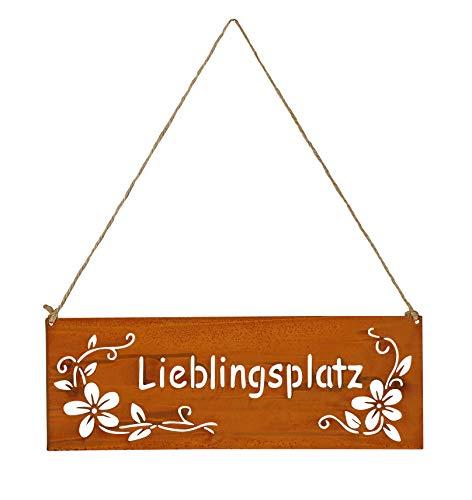 levandeo Schild Lieblingsplatz 25x9cm Außen Garten-Deko Rost Braun Edelrost Rostdeko Blumen Metall Türschild Wandbild Außendeko