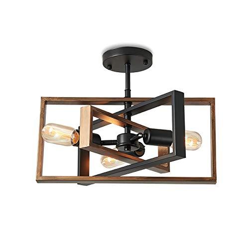ENCOFT Deckenleuchte Schwarz Deckenlampe Vintage Industrial küchenlampe wohnzimmerlampe Retro Deckenlampe wohnzimmer schlafzimmer mit 3 E27 Fassung