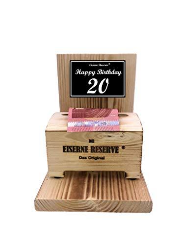 Happy Birthday 20 Geburtstag - Eiserne Reserve ® Geldbox - Geldgeschenk Schatztruhe - Geld verschenken - 20 Geburtstag Geschenk Idee für Männer & Frauen Geschenke zum 20 Geburtstag