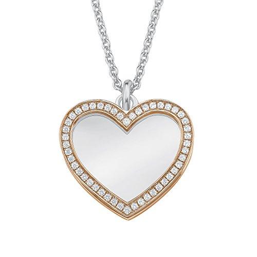 S.Oliver Damen Kette mit gravierbarem Herz-Anhänger Bicolor 925 Sterling Silber teil-rosévergoldet und rhodiniert Zirkonia 42+3 cm weiß