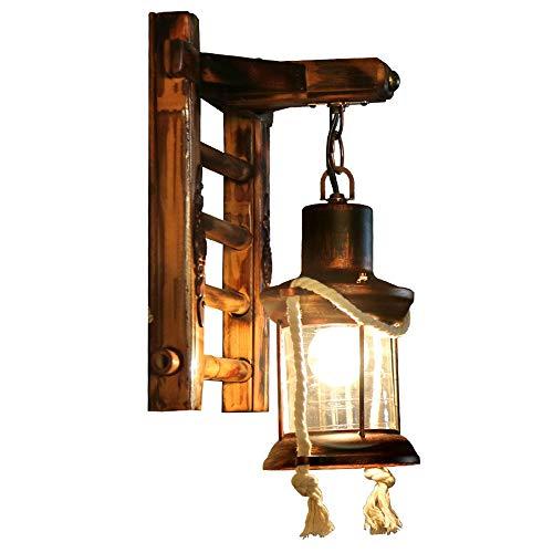 Holz Retro Lichter rustikale Wohnzimmer Wandlampe Schlafzimmerwand Einfach Kreativ Wandleuchte Vintage Antik Nostalgie innen Design Wandlampe [Energiestufe A ++](One head)