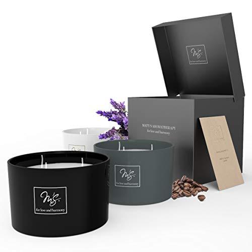 MATY'S Handgemachte Premium Duftkerze / Kerze aus 100% Natürlichem Soja Wachs - Brenndauer bis zu 150 Stunden - Hergestellt in der EU – 1200g