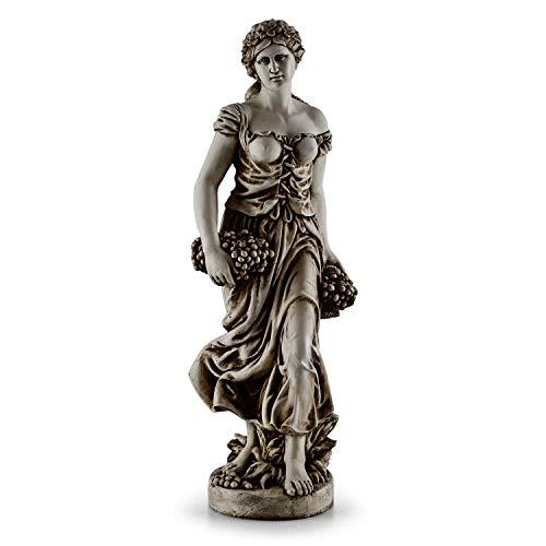blumfeldt Ceres - Skulptur, Statue, Gartenfigur, griechische Göttin, 1,2m Höhe, witterungs- und frostbeständig, für langjährige Aufstellung im Freien, Unikat, Naturstein-Optik, grau