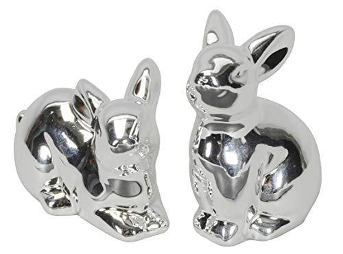 kleine niedliche putzige Osterhasen als Tischdeko Porzellan Silber glänzend Preis für 2 Stück