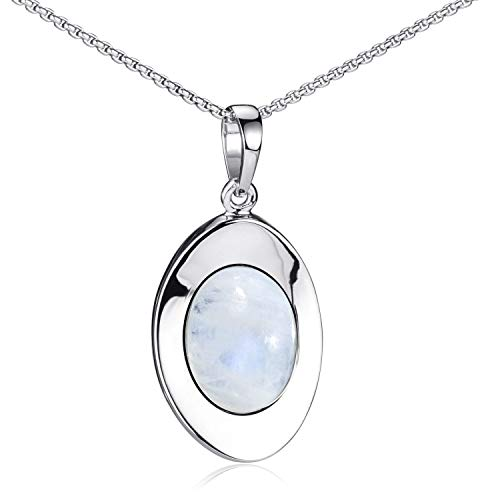 Materia Mondstein Kette oval aus 925 Sterlingsilber weiß rhodiniert in Schmuck Etui ka-37-k102-45