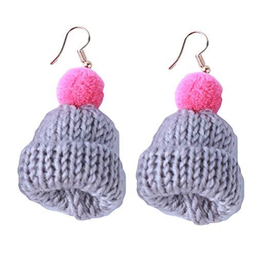 Flybloom Lustige Weihnachtsmütze Form Anhänger Ohrringe Frau Exquisite Schmuck Kreative Geschenke Für Geburtstag Weihnachten (Grau)