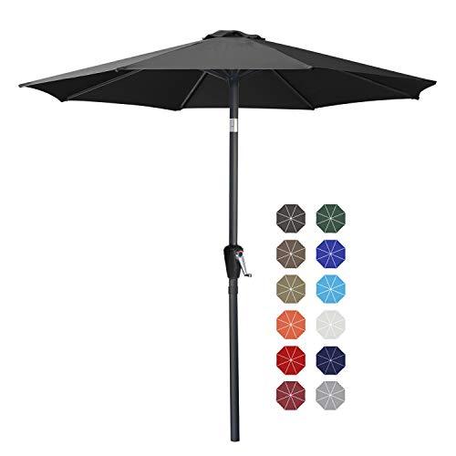 ABCCANOPY 270cm Sonnenschirm im Freien Wasserabweisende Bespannung -Gartenschirm Marktschirm,Dunkelgrau