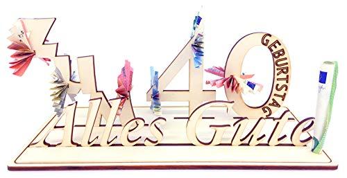 Geldgeschenk, 40. Geburtstag, Holzzahl, Glückwunsch, Alles Gute zum Geburtstag