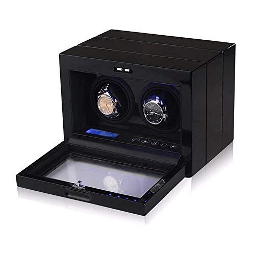 Doppel Uhrenbeweger Box, 2 Uhren Automatik Box Mit Touch LCD Digital Display Und LED Beleuchtung Ruhiger Motor Geschenk für Männer und Frauen