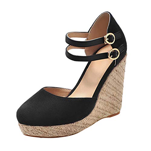 Dorical Damen Espadrilles,Basic Closed Toe Geschlossene Sandalen mit Keilabsatz Double Schnalle für Mutter 35-43 EU(Schwarz,37 EU)