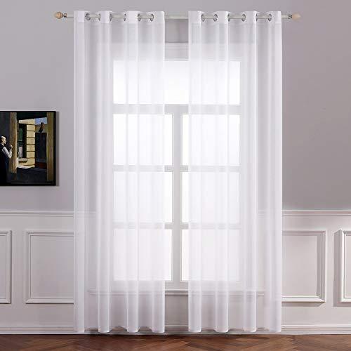 MIULEE 2er Set Sheer Voile Vorhang mit Ösen Transparente Gardine aus Voile Polyester Ösenschal Transparent Wohnzimmer Luftig Dekoschal für Schlafzimmer 140 X 160 cm (B x H) Weiß