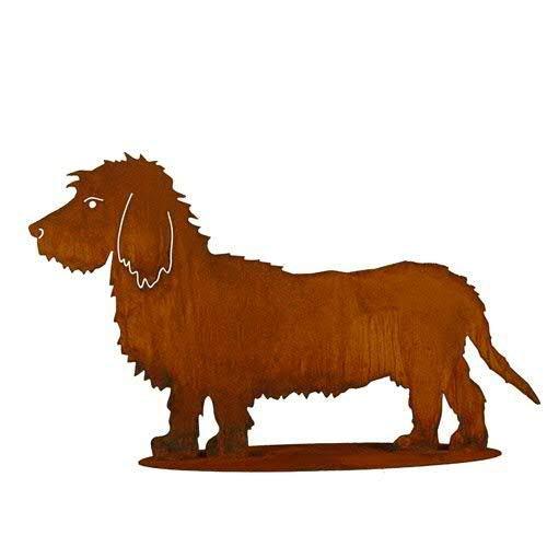 Dekoration Garten Figur - Hundedeko: Dackel auf Platte (Fester Stand) - Länge 70cm / Höhe 42cm - Edelrost Gartendekoration