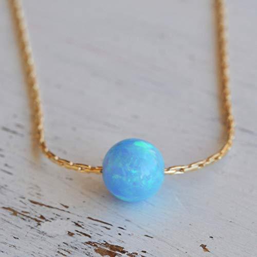 Blue Opal Ball Halskette 14k Gold gefüllt Opal Bead Halskette Länge 41cm / 16inch + 5cm Extender