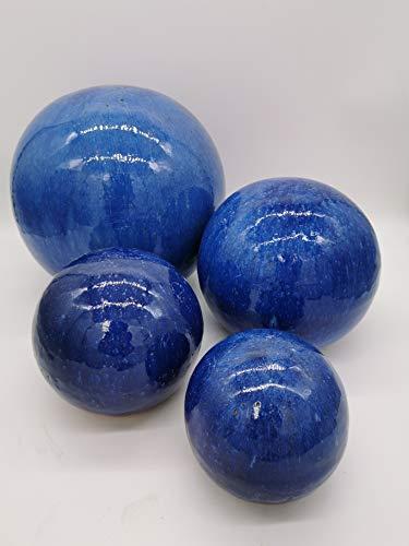 Teramico Dekokugel Gartenkugel glasiert -Blau, Grün, Anthrazit, Türkis, Aqua- sehr hochwertig frostfest und witterungsbeständig Steinzeug (4er Set 12cm, 16cm, 20cm und 28cm, Blau)
