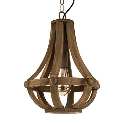 EGLO Pendelleuchte Kinross, 1 flammiger Kronleuchter Vintage, Retro, Rustikal, Hängeleuchte Holz und Stahl, Esstischlampe in Braun, Wohnzimmerlampe hängend mit E27 Fassung