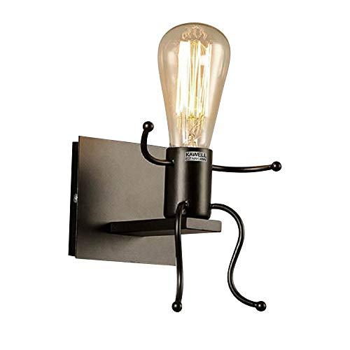 KAWELL Kreative Vintage Wandleuchte LED Industrie Retro Wandlampe Schwarz Eisen E27 Halter Innen Art Deco für Bar, Schlafzimmer, Küche, Restaurant, Café, Flur, Schwarz