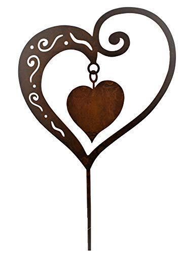 Rostikal Gartenstecker Herz 65 cm Gartendeko Vintage Blumenstecker zum Muttertag Rost Deko