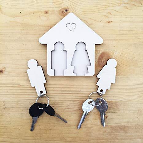 Laserò Schlüsselring   Schlüsselanhänger mit Wandhalterung   Schlüsselhalter aus Holz   Für Haus und Büro, das perfekte Wohnaccessoire   Ideal als Geschenk für Paare   Für Sie und Ihn
