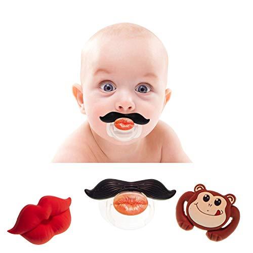 C+D Lustige Schnuller   Baby Schnuller   Premium-Qualität   Set 3-teilig   1x Schnurrbart, 1x Kussmund, 1x lustiger Affe   Komisch, Prank, Kindergeburtstag, Baby-Party, Hochzeit, Fotobox, Fasching