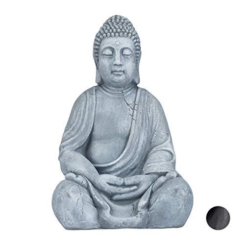 Relaxdays XL Buddha Figur sitzend, 50 cm hoch, Feng Shui, Outdoor, Garten Dekofigur, große Zen Buddha Statue, hellgrau