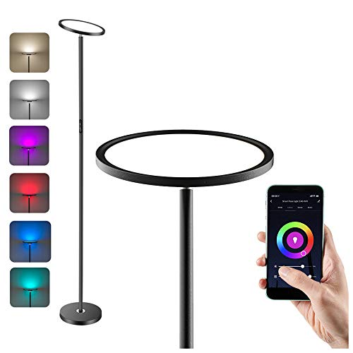 Anten LED Deckenfluter Smart Stehlampe 25W mit RGB, Farbtemperaturen und Helligkeit Stufenlos Dimmbar Stehleuchte, Kompatibel mit Alexa und Google Assistant für Wohnzimmer, Schlafzimmer, Büro