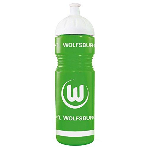 VfL Wolfsburg Trinkflasche aus Kunststoff grün mit großem VfL Wappen + Wolf ca 0,75l Füllmenge MADE IN GERMANY