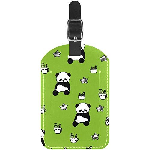 Gepäckanhänger Panda- und Kaktuspflanze Leder Reisekoffer-Etiketten 1 Packungen