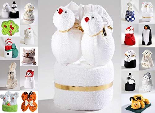 Frottier Geschenk Set Origami Gästetuch Handtuch Waschhandschuh, Motiv/Art:Love Birds