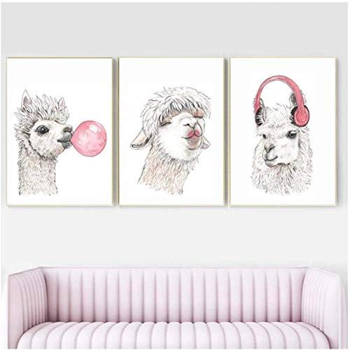 Crazystore Drucke für Wände 3 x 40x60cm ohne Rahmen Lama Bubble Gum Niedliche Alpaka Leinwand Malerei Tierbild Kinderzimmer Kinderzimmer Dekor Lustiges Poster