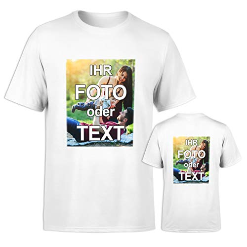 T-Shirt selbst gestalten * Weiß in L * wahlweise einseitig oder doppelseitig Bedruckt mit eigenem Foto Text Logo Name * ringgesponnene Baumwolle * viele Farben und Größen