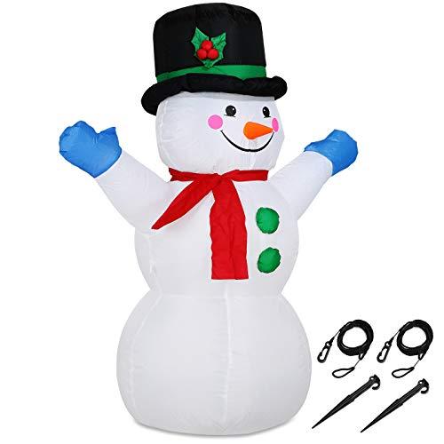 Monzana Aufblasbarer Schneemann XL 120cm LED Beleuchtung Befestigungsmaterial Weihnachtsdeko Außen Weihnachten Figur