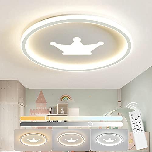 Anten LED Deckenlampe Kinderzimmer KRONE, Deckenleuchte Dimmbar mit Fernbedienung 3200LM 32W 3000-6500K, Nachtlicht, Memory Funktion, Modern Decke Lampen für Mädchen/Jungen Schlafzimmer Ø41,5cm