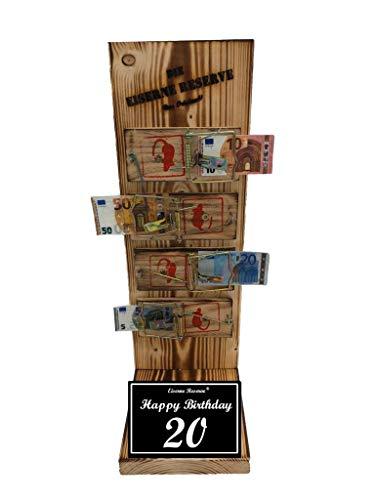 * Happy Birthday 20 Geburtstag - Eiserne Reserve ® Mausefalle Geldgeschenk - Die lustige Geschenkidee - Geld verschenken