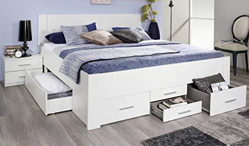 Rauch Möbel Isotta Bett Doppelbett Stauraumbett mit Schubladen, in Weiß, Liegefläche 180x200 cm, Stellmaße BxHxT 185x96x208 cm