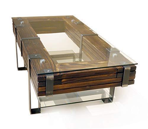 CHYRKA Couchtisch Wohnzimmertisch LEMBERG Loft Vintage Bar IndustrieDesign Handmade Holz Glas Metall (120x60 cm H=40 cm)