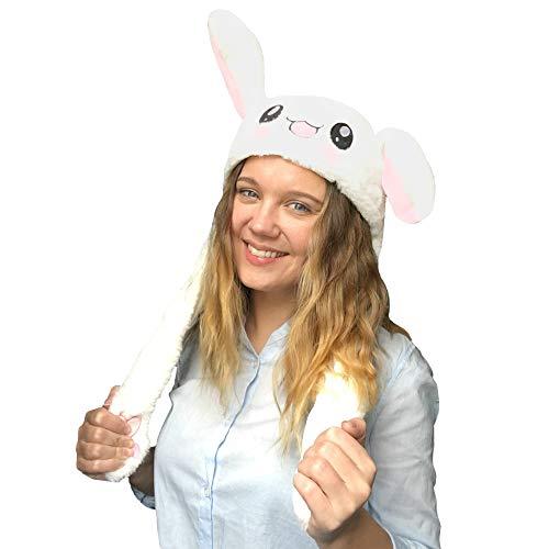 JSVER Lustige Spielzeug Bunny Hat Kaninchen Hutes Kneifen Kaninchen Ohren Airbag Beweglich Hutes Plüsch Niedlichen Hut /Animal Hat als Geschenk für Frauen und Kinder