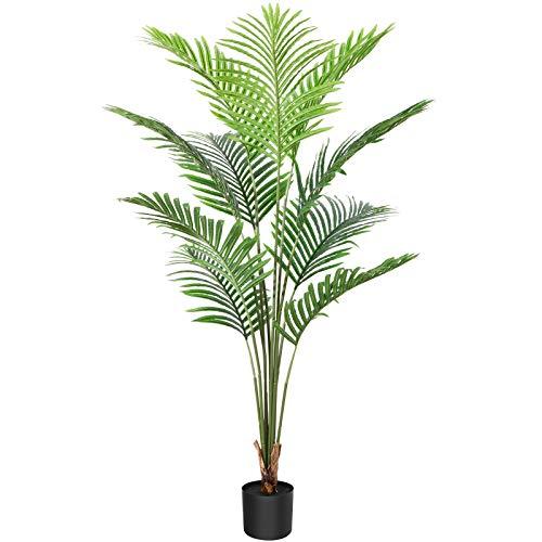 CROSOFMI Kunstpflanze Plastik Areca Palm 140cm Künstliche Pflanze Palme Groß im Topf Dschungel Tropical Hawaii Stil Fake Plant Wohnzimmer Balkon Schlafzimmer Grün Deko(1 Pack)