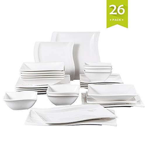 MALACASA, Serie Flora, 26 tlg. CremeWeiß Porzellan Geschirrset Kombiservice Tafelservice mit 6 Schälen, 6 Dessertteller, 6 Suppenteller, 6 Speiseteller und 2 Rechteckigen Platten