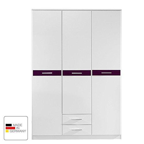 Wimex Kleiderschrank/ Drehtürenschrank Gina, 3 Türen, 2 Schubladen, (B/H/T) 135 x 199 x 58 cm, Weiß