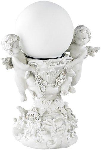 Lunartec Beleuchteter Engel: Deko-Leuchte Engelskinder mit Solar-LED-Kugel (Engel mit Solar)