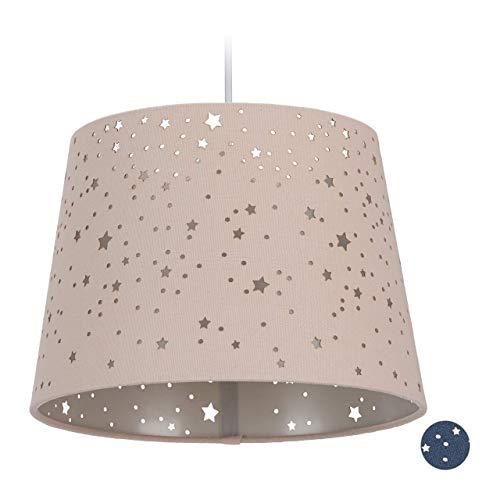 Relaxdays Kinderzimmerlampe Sterne, hängende Schirmlampe für Mädchen, Sternenhimmel Motiv, E27, runder Stoffschirm, rosa