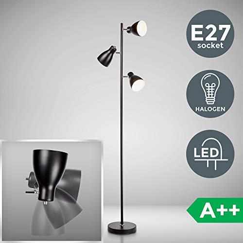 Stehleuchte | schwarz | LED Halogen E27 | Metall | Retro Standlampe | Stehlampe | Moderne Standleuchte | Deckenfluter | schwenkbar