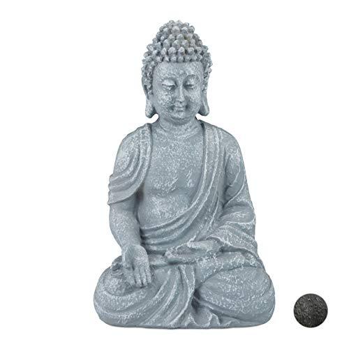 Relaxdays, hellgrau Buddha Figur sitzend, 30 cm, Gartenfigur, Dekofigur Wohnzimmer, Polyresin, wetterfest, frostsicher, 30 x x 18 x 11 cm