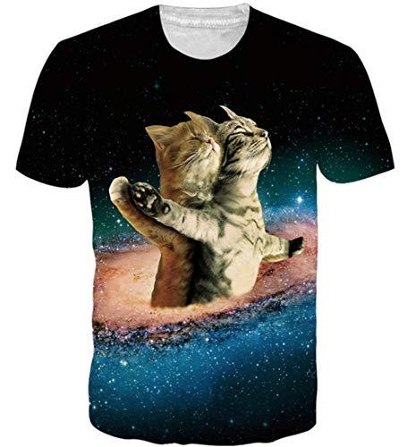 Loveternal Katze T-Shirt 3D Druck Tees Casual Paint Grafik Kurzarm Tops Tees für Frauen Männer XL