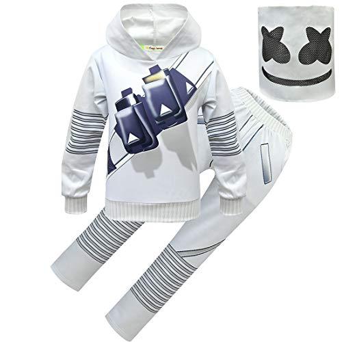 dgfstmd Kinder Trainingsanzüge DJ Smiley Gesichtsmaske Lustiges Halloween Cosplay Kostüm Kleidung Set Gr. (130/140 cm), Stil 2