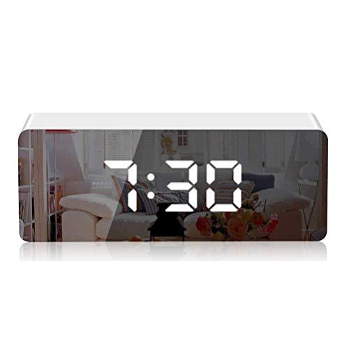 KKshop Spiegel Wecker LED Digitaler Wecker, Dimmbar Tischuhr Alarm Wecker 3' LED-Anzeige, einstellbare Helligkeit, für Schlafzimmer Wohnzimmer-Wohnkultur