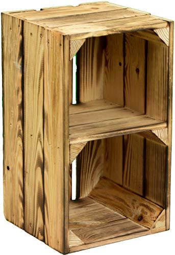 Kistenkolli Altes Land kleine Massive Obstkiste Hilde 38x22x21cm Regalkiste Weinkiste Holzkiste Aufbewahrungskiste DVD/CD -Bücherregalkiste Gartendeko Balkond (Hilde geflammt Quer)